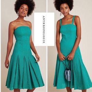NWT Anthropologie Lelia Eyelet Green Midi Dress
